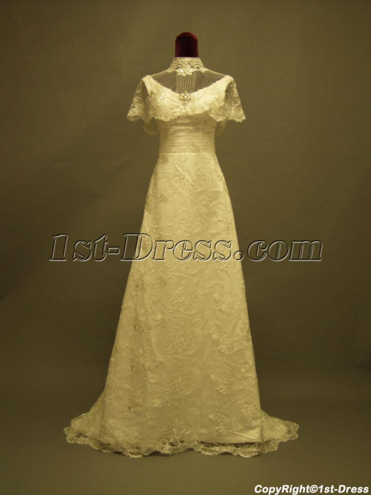 High neckline western lace bridal gowns p8310616 1st for Western lace wedding dresses