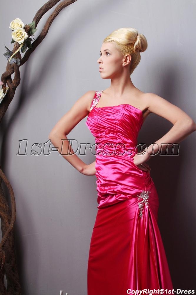 Hot Pink Plus Size Evening Dress with One Shoulder SOV111019