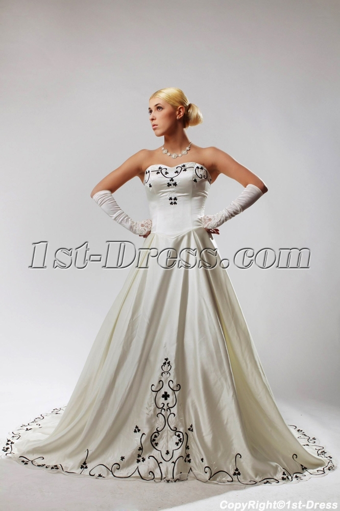 Ivory Plus Size Wedding Dresses with Color Black SOV110027:1st-dress.com