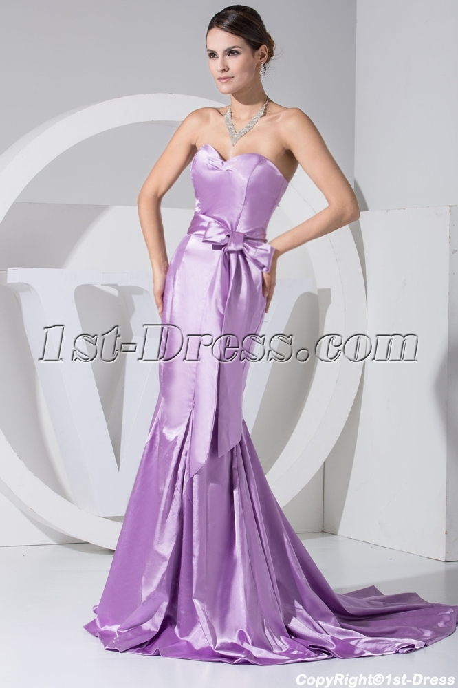 Lilac Clearance Trumpet Prom Dress with Sash WD1-051:1st-dress.com