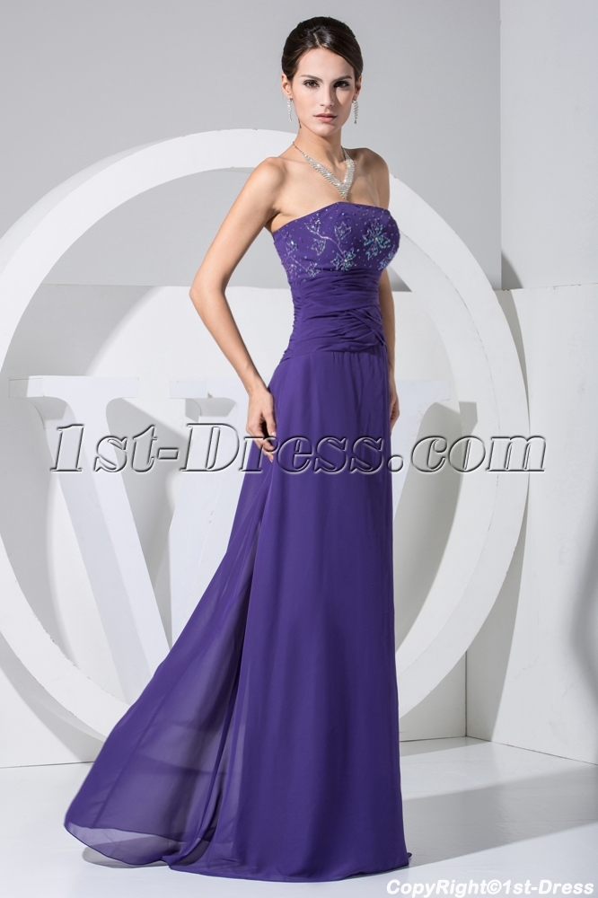 Long Royal Blue Strapless Mother of Bride Dresses Petite Size WE1 ...