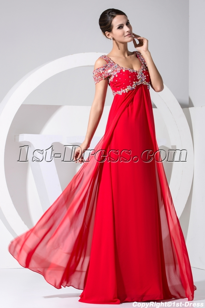 Luxury Long Red Off Shoulder Plus Size Prom Dress WD1-031:1st-dress.com