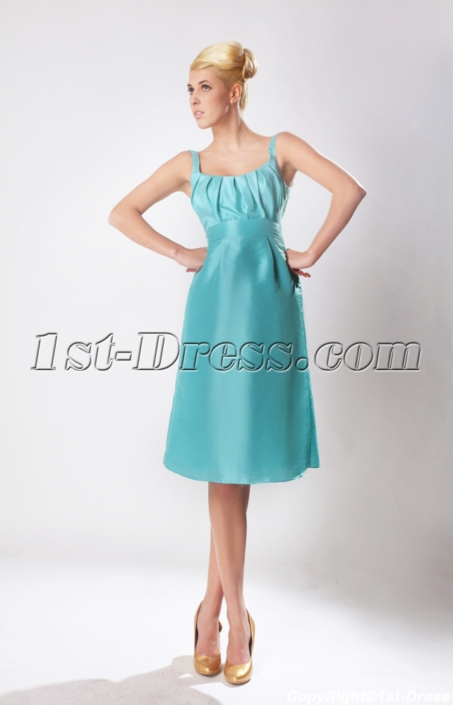 New Straps Teal Blue Short Bridesmaid Dress with Square SOV112001 ...