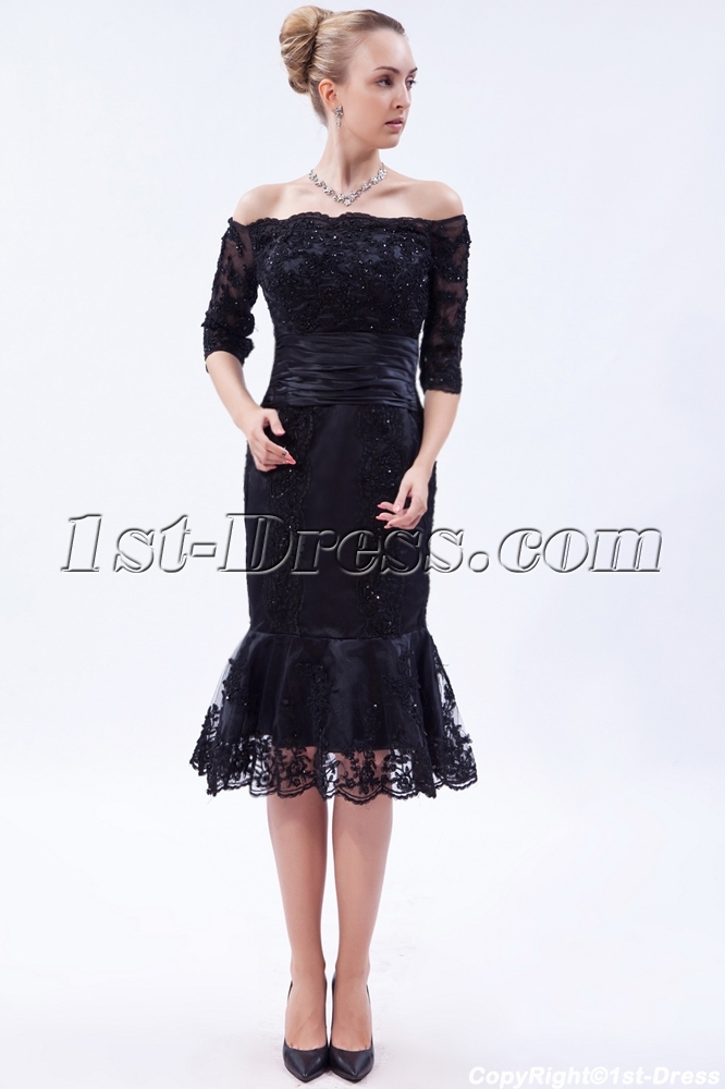 Off shoulder black tea length lace wedding dress with for Black tea length wedding dress