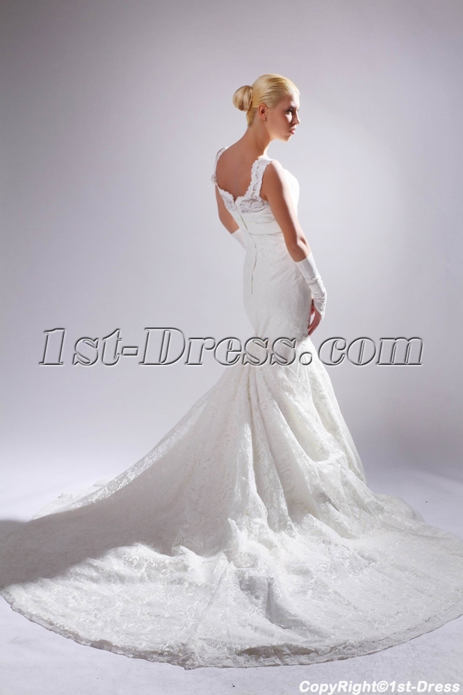 Mermaid Wedding Dress With Detachable Train : Off shoulder mermaid lace bridal gown with detachable