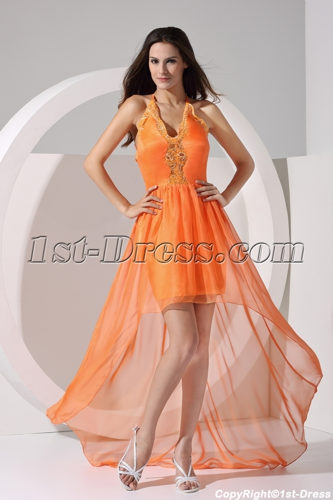 Orange Halter Sweet High Low Prom Dresses Under 200