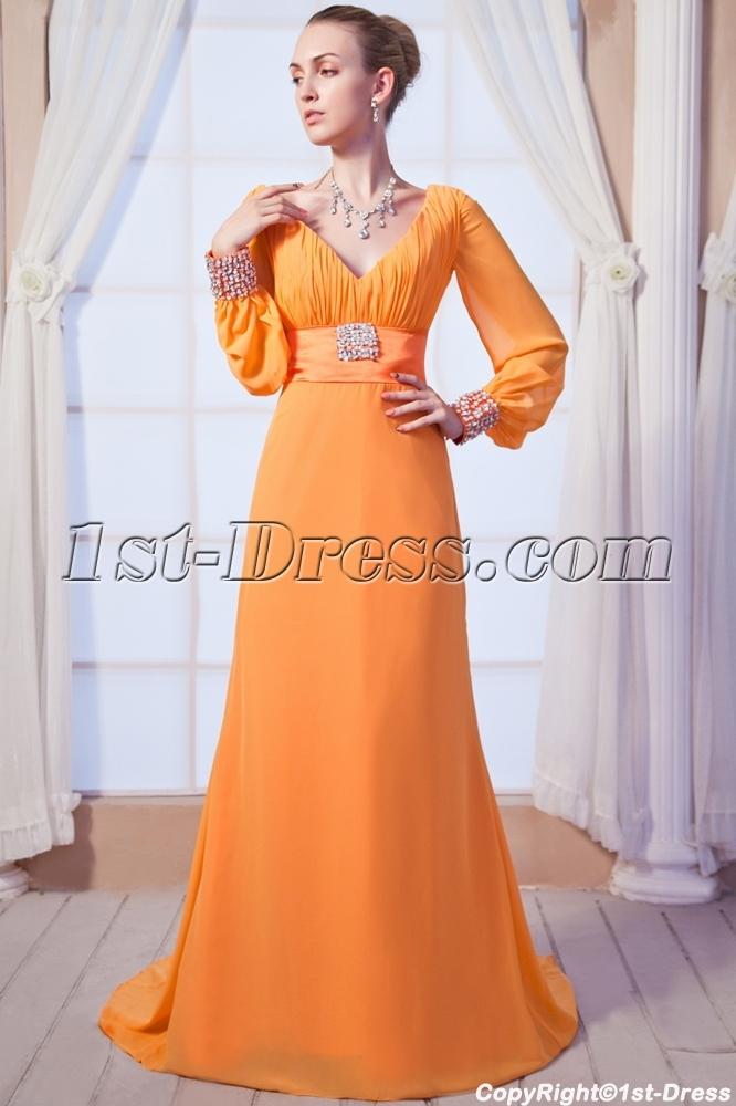 Orange V Neckline Decent Formal Evening Dress With Long Sleeves Img 01501st Dress