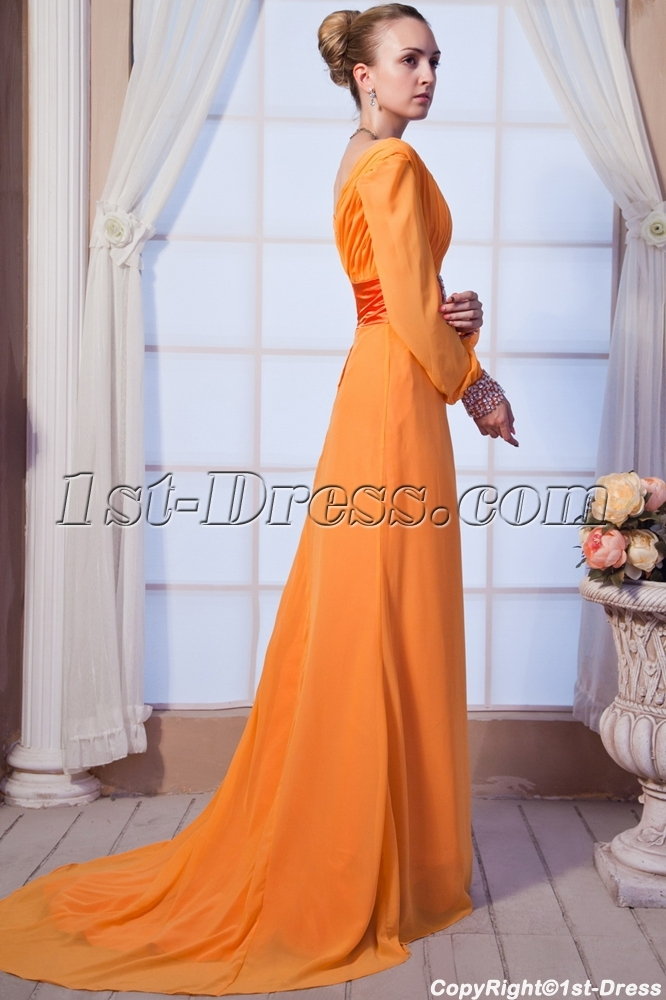 Orange V Neckline Decent Formal Evening Dress With Long Sleeves