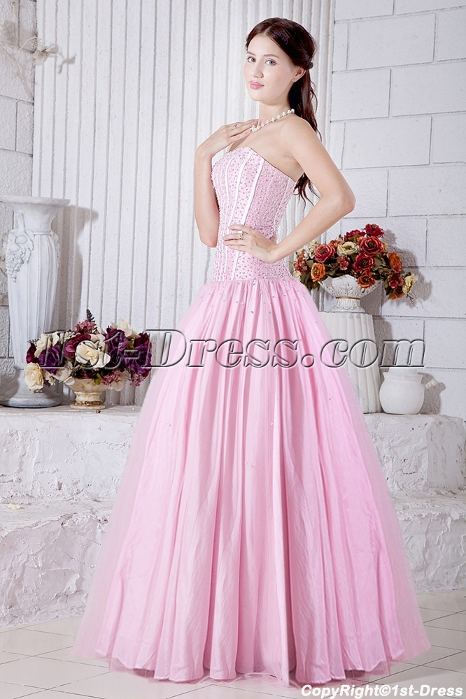 Pink Drop Waist Pretty Masquerade Ball Gowns with Corset IMG_6996 ...