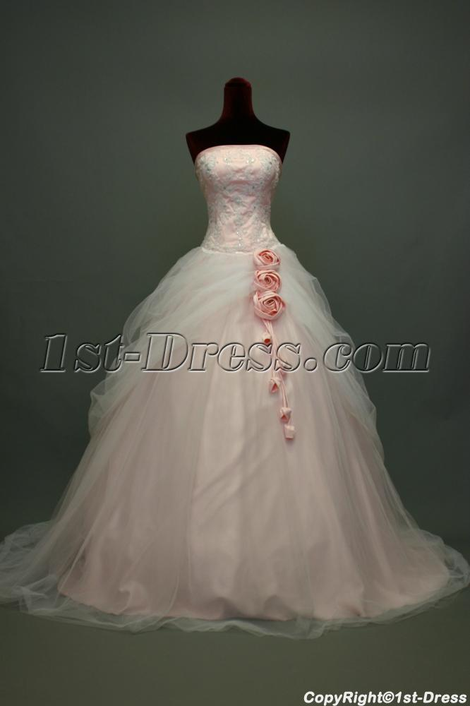 Pink and white glamorous beautiful bridal gown img 7370 for Wedding dresses white and pink