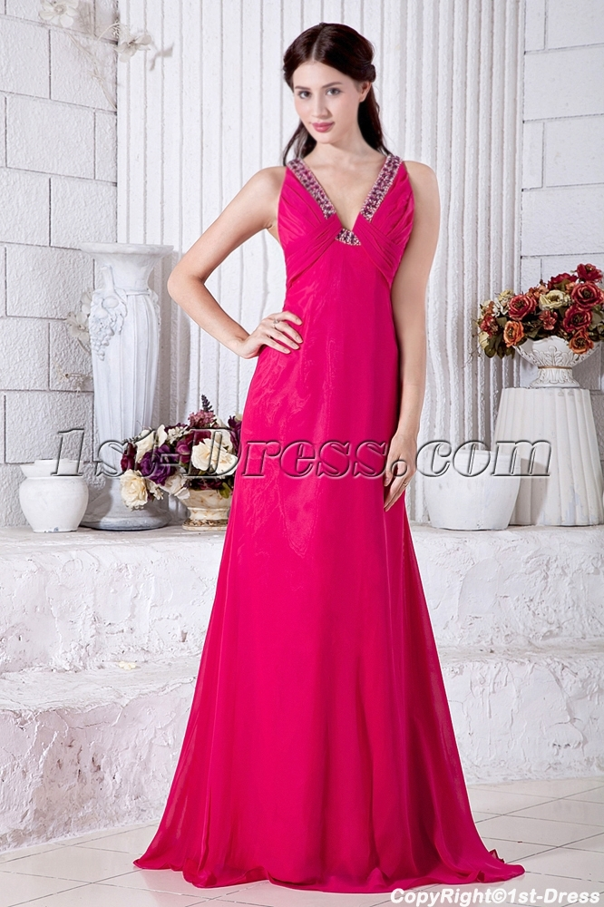 Plunge V Fuchsia Evening Dresses Cheap with Open Back IMG_6918:1st ...