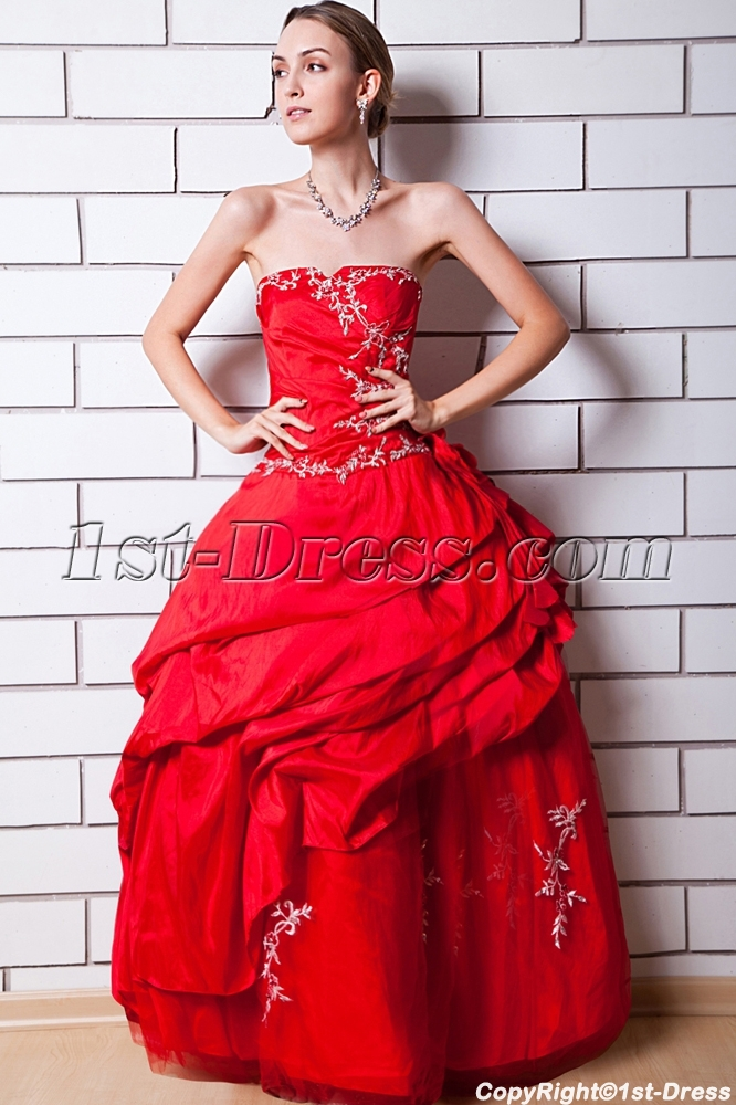 cbcb355d44c Red Cheap Quinceanera Dress Strapless IMG 0638 (Free Shipping)