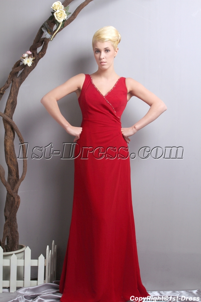 Red v neckline mother of the bride dress for outdoor for Mother of the bride dresses for outdoor wedding