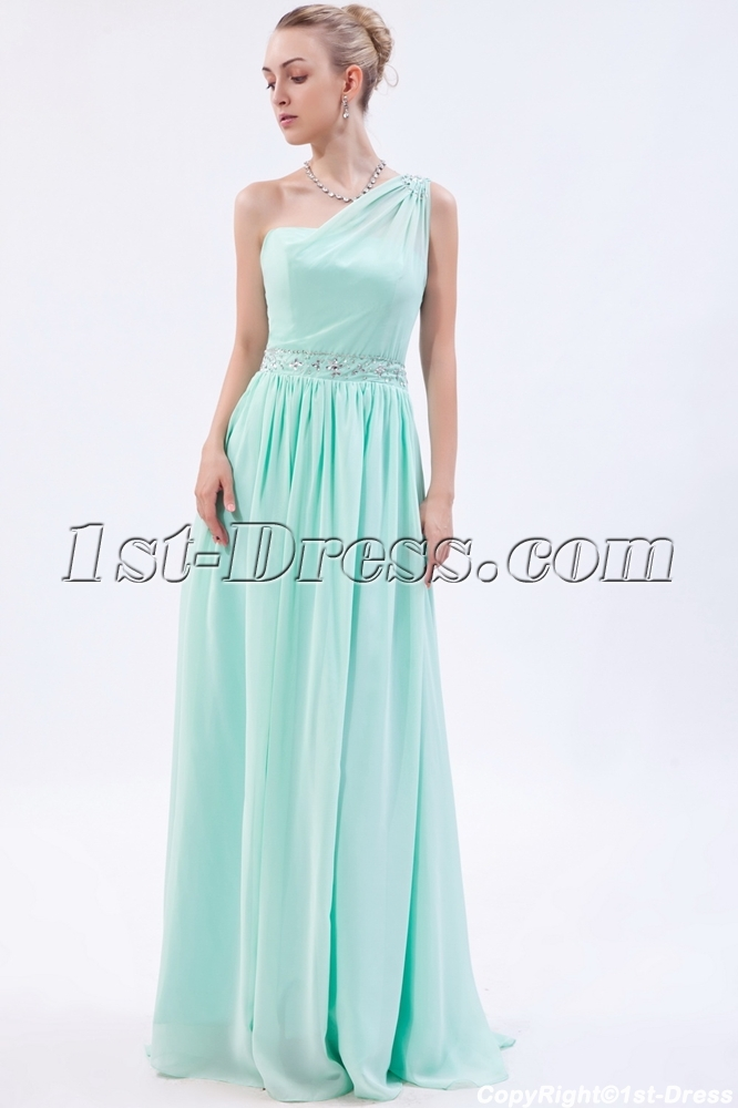 Sage Grecian Military One Shoulder Prom Dress IMG_9882:1st-dress.com