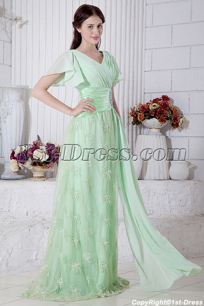 Sage Green Large Size Prom Dress With Short Sleeves Img