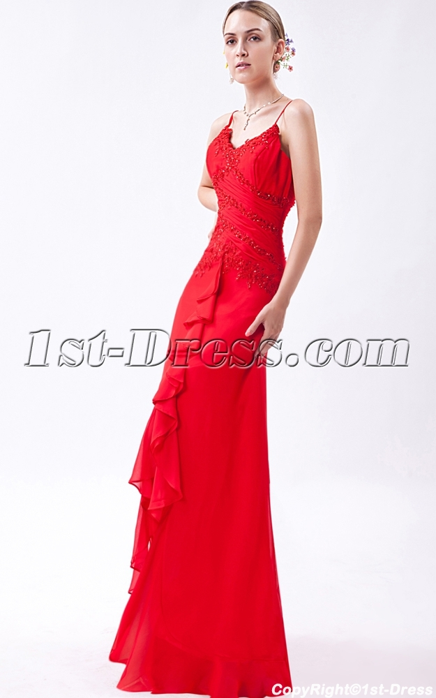 Spaghetti Straps Red High Low Prom Dresses 2013 IMG_1035 ...Red High Low Prom Dresses 2013