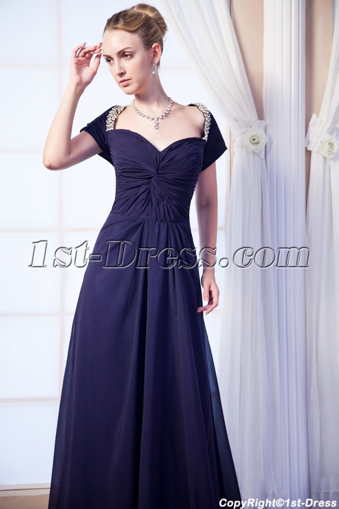 Square Modest Prom Dress 2013 with Short Sleeves IMG_0075:1st-dress.com
