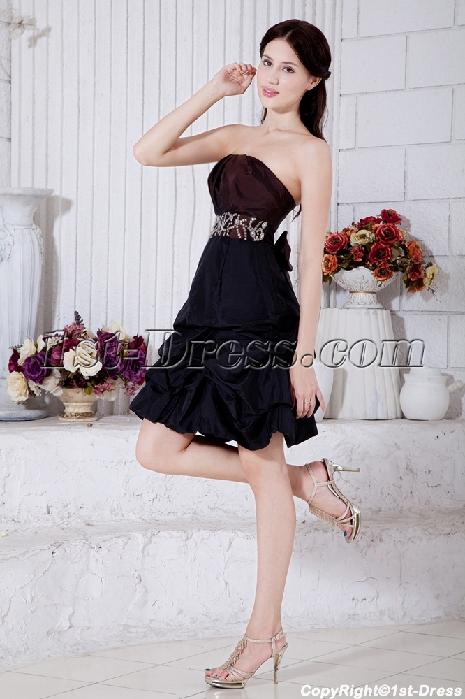 Strapless Brown And Black Short Quince Gown With Bow Img73641st