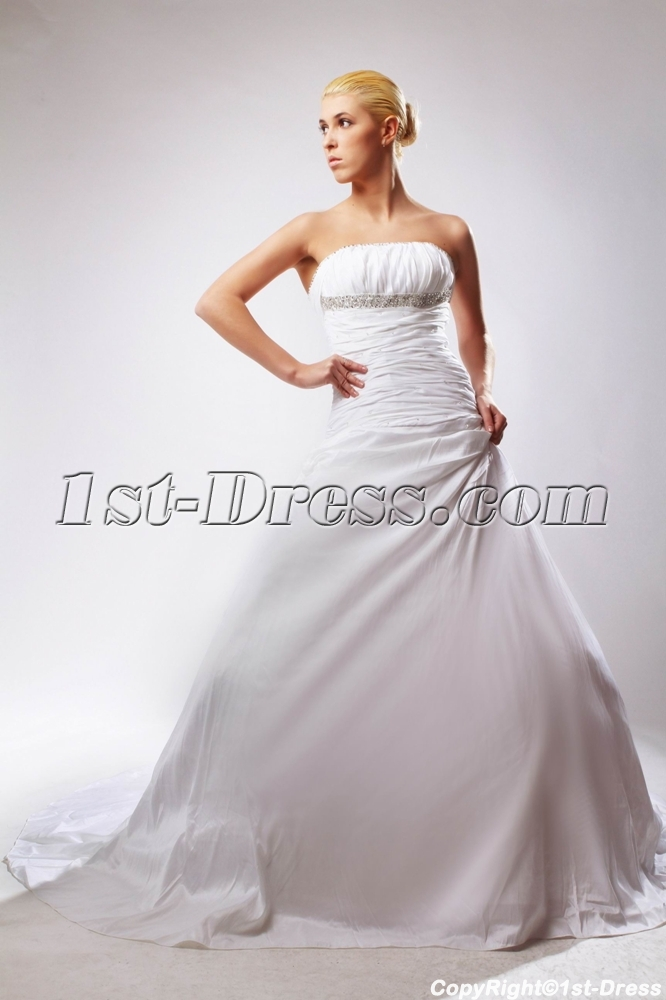 Strapless long beautiful western bridal gown with chapel for Strapless wedding dresses with long trains