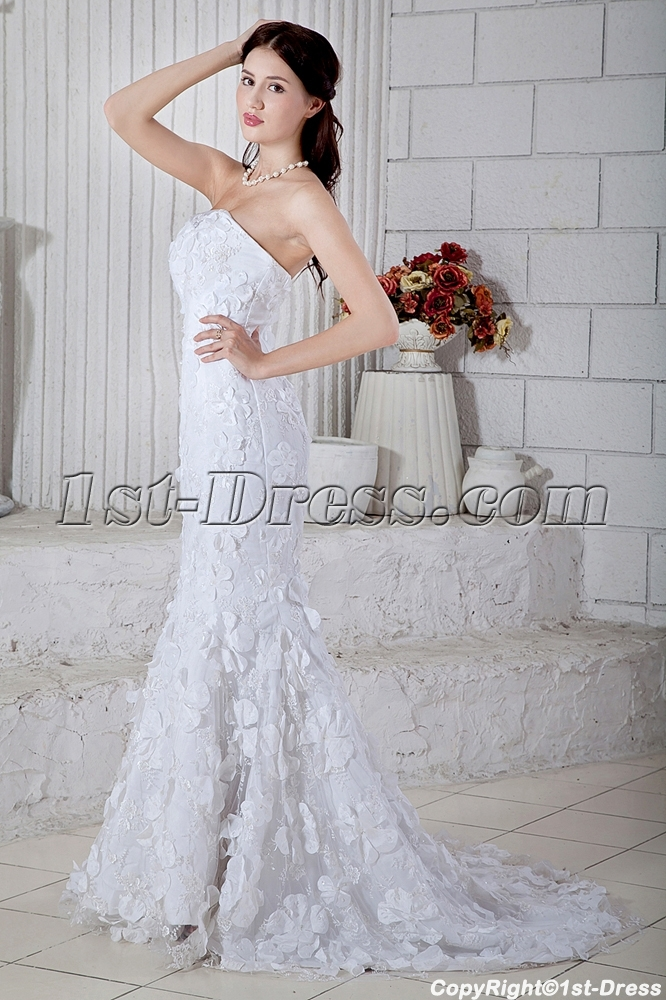 Strapless Long Strapless Princess Mermaid Bridal Gowns with Train