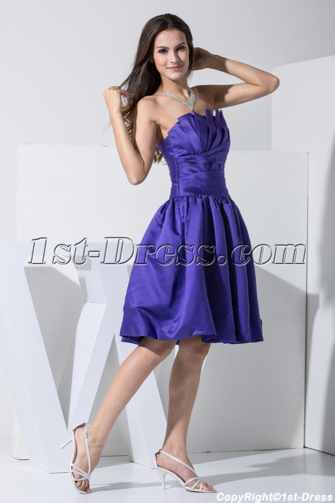 Strapless Royal Blue Short Quinceanera Dress Wd1 009 1st