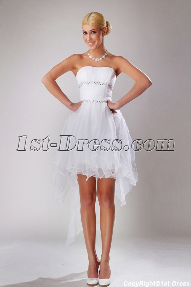 Summer High-low Hem Short Bridal Gown