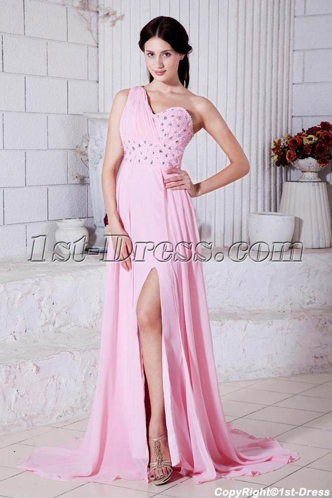 0b63b0807e3 Summer Nectarean Pink Chiffon One Shoulder Graduation Dresses Criss Back  with Sash IMG 7746 1st-dress.com