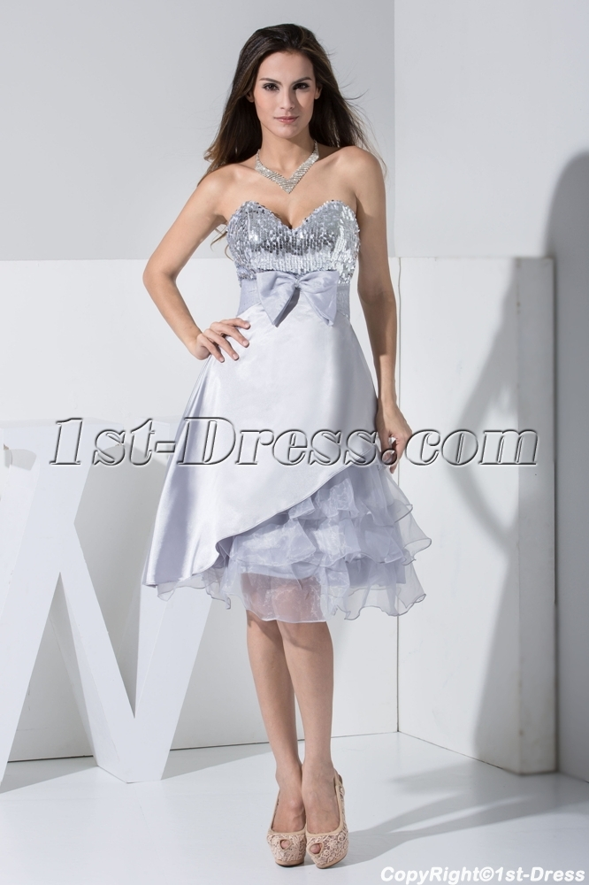 Sweet Silver Sequins Short Pretty Prom Dress with Bow WD1-015:1st ...