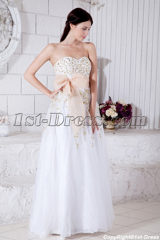 Sweetheart Floor Length 2011 White Quinceanera Dress With Gold
