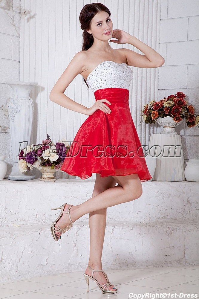 Sweetheart White And Red Colorful Short Quinceanera