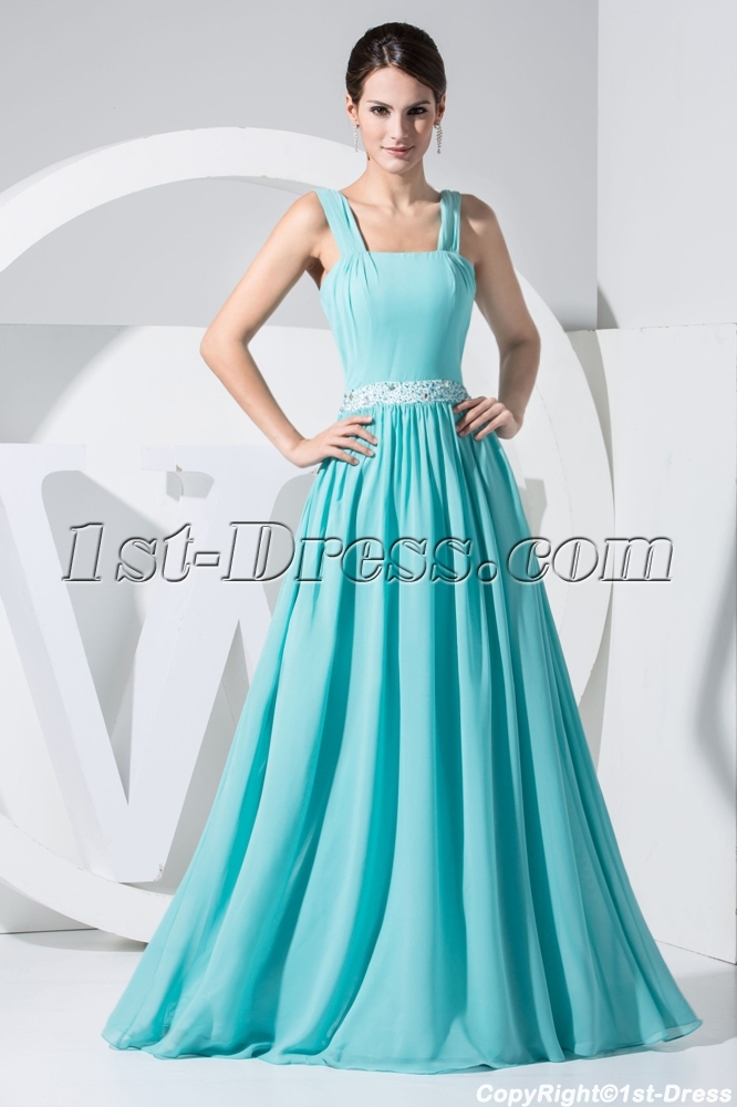 Tank Straps Teal Plus Size Prom Dress Long Simple WD1-016:1st-dress.com