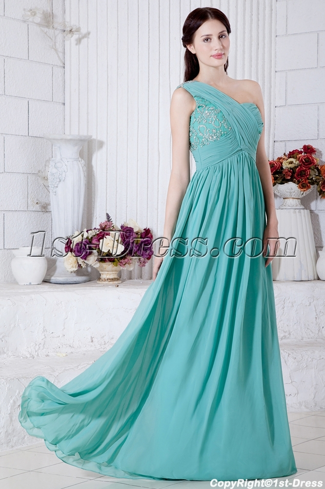 Teal Pregnant One Shoulder Evening Party Dress Img72351st Dress