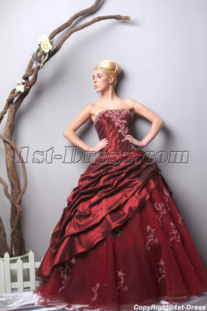 Unique Strapless Long Burgundy Quinceanera Dresses 2013