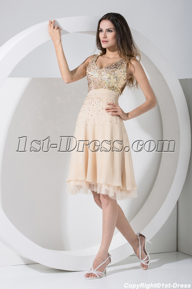 b4d98077a1125 V-neckline Gold Sequins Cocktail Dress WD1-004 $160.00