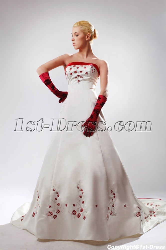 White Plus Size Bridal Gown with Red Embroidery SOV11002:1st ...