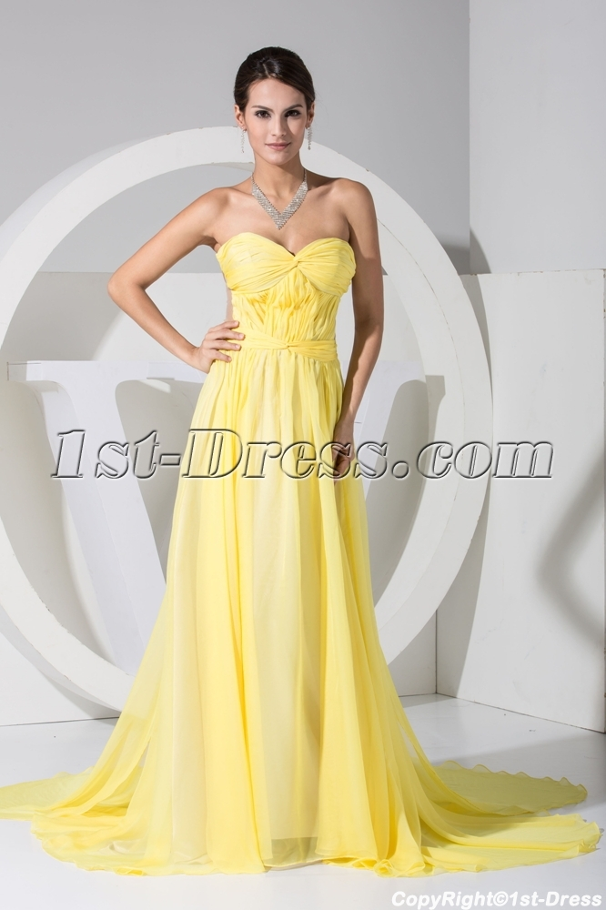 Yellow Sweetheart Illusion Back Beach Wedding Dress Wd1 050