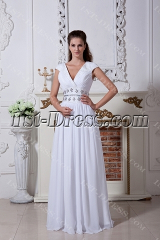 2013 Ivory V-neckline Tropical Wedding Dresses IMG_1729