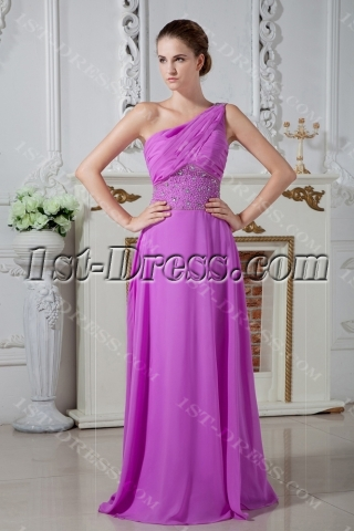 2013 Long Lilac One Shoulder Graduation Dress IMG_1917