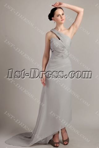 Asymmetrical High-low Hem Gray 2013 Prom Dress with Train IMG_3436