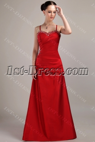 Beach Spaghetti Straps Bridesmaid Dresses Red Long IMG_3070
