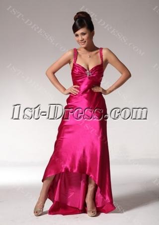 Beaded Straps Fuchsia Classy Prom Dresses with High-low Hem edjc891309