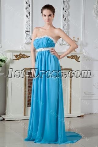 Blue Sexy Open Back Maternity Prom Dress IMG_1845