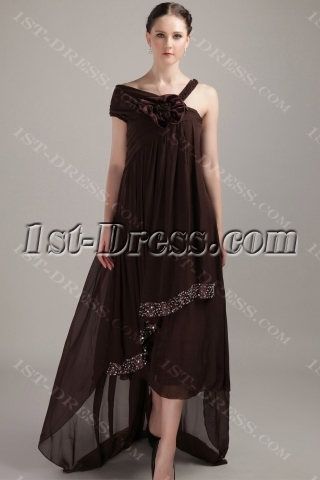 Brown Asymmetrical High-low Plus Size Pregnancy Prom Dresses IMG_3310