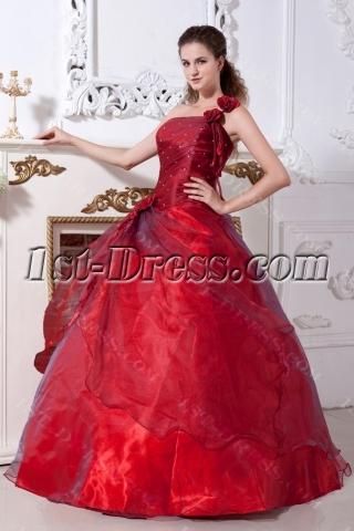 Burgundy One Shoulder 15 Quinceanera Dress IMG_2166