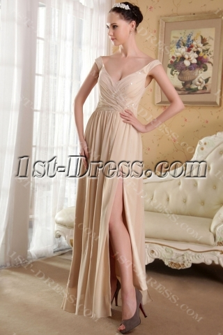 Champagne Off Shoulder Sexy Celebrity Dress with Split Front IMG_3612