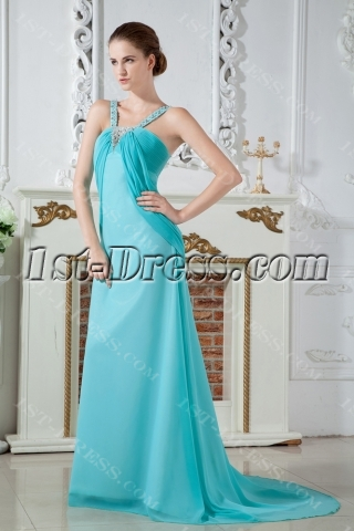 Charming Teal Blue Straps Plus Size Prom Gown Dress with Train IMG_1858