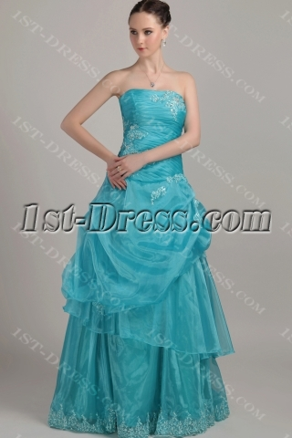 Cheap Turquoise Blue Ball Gown Dresses 2012 Long IMG_3228