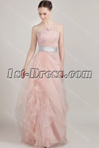 Coral One Shoulder Long Pretty Prom Dress with Silver Band IMG_3220