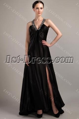 Criss cross strap Black V-Neckline Military Prom Dress IMG_3044