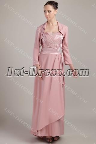 Dusty Rose Elegant Mother of Bride Dress with Long Sleeves Jacket IMG_3487